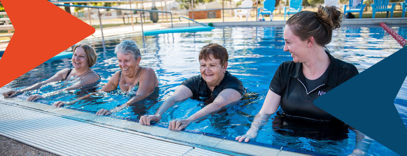 Three women exercising in a pool with a NWRH staff member.