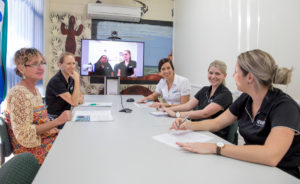 Team meeting with other office sites at the Mount Isa NWRH Meeting Room.