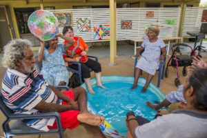 Residents enjoying water therapy at Ngooderi House Doomadgee.