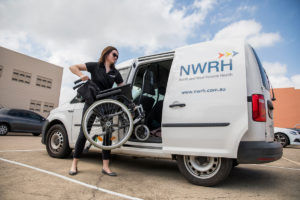 NWRH Townsville, Equipment Van; wheelchair, Clodagh O'Reagain (NWRH OT)