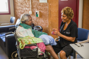 Resident enjoying a meal at a NWRH Aged Care Facility