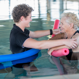 Longreach Pool, Hydrotherapy: Using pool noodle to hold patient arms